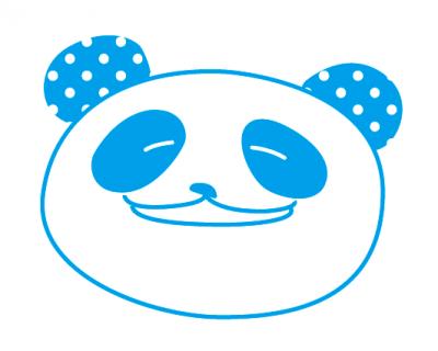 パンダの耳に水玉を適用した