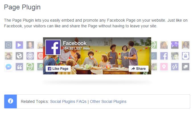 Facebookページをウィジェットのような形で貼る時、「Like Box」が2015年6月23日に廃止されて、「Page Plugin」になる、ということで、変更しました。