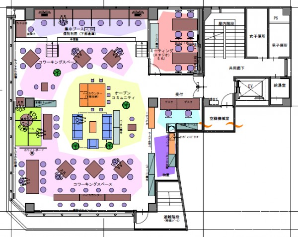 コワーキングスペース7Fの設計図面