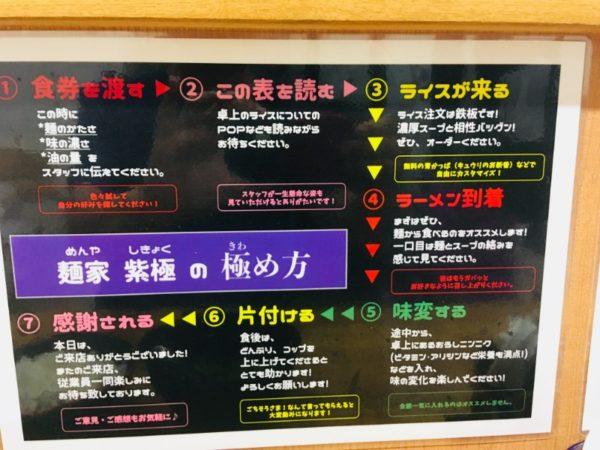 麺家紫極 食べ方表